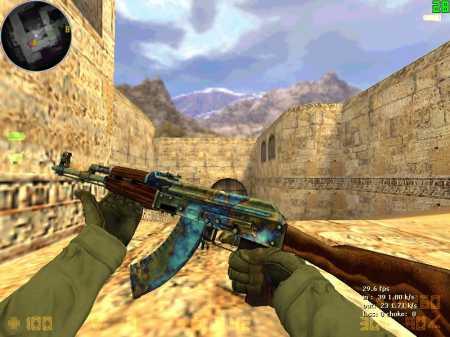 Модель AK 47 | Case Hardenet  с анимацией осмотра для CS 1.6