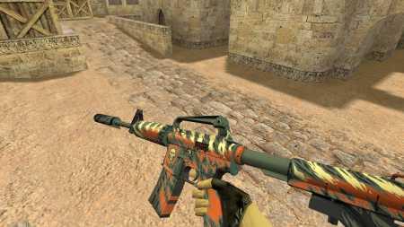 Модель HD M4A4 «WINGSHOT» с анимацией осмотра для CS 1.6