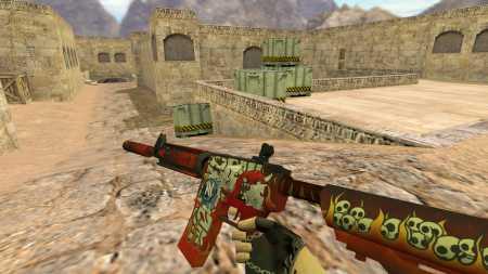 HD модель M4A4 «Hellfire» с наклейками из CS:GO для CS 1.6