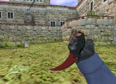Модель HD ножа «Karambit   Crimson Web» с анимацией осмотра для CS 1.6